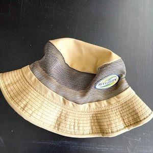 Gender neutral 90's vintage Stussy bucket hat khaki color